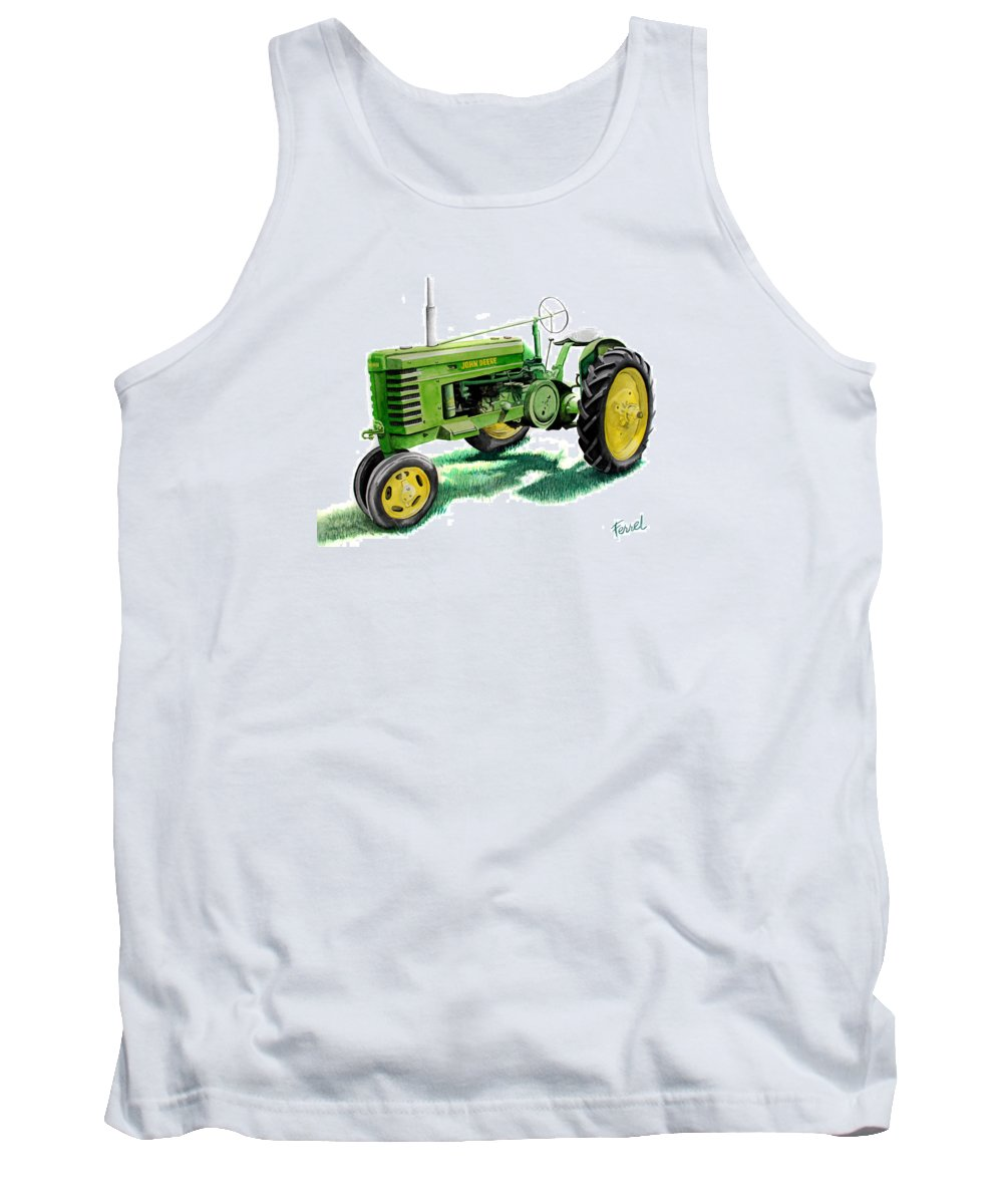 John Deere Tractor Tank Top featuring the painting John Deere Tractor by Ferrel Cordle
