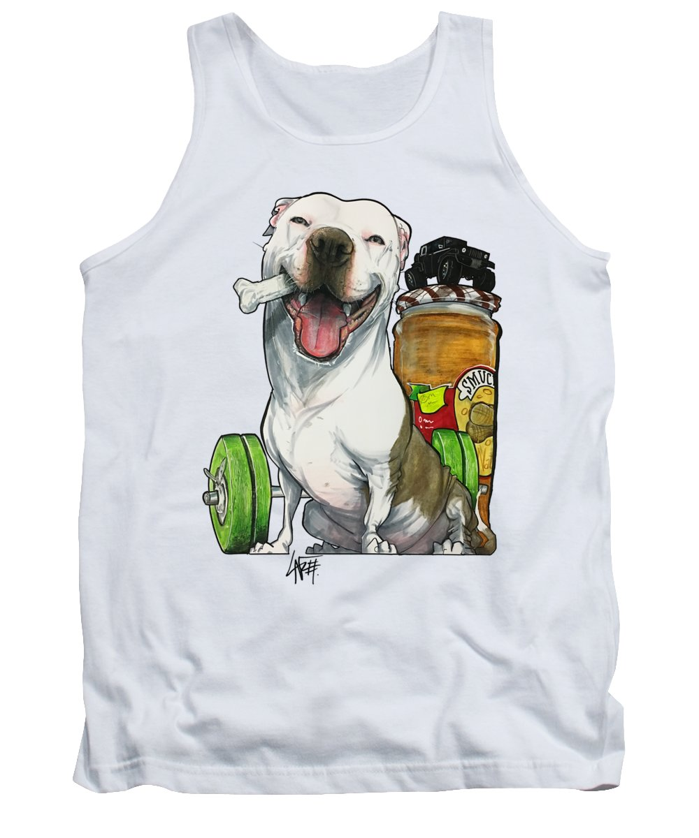 Pit Bull Tank Top featuring the drawing Johnson 18-1009 by John LaFree