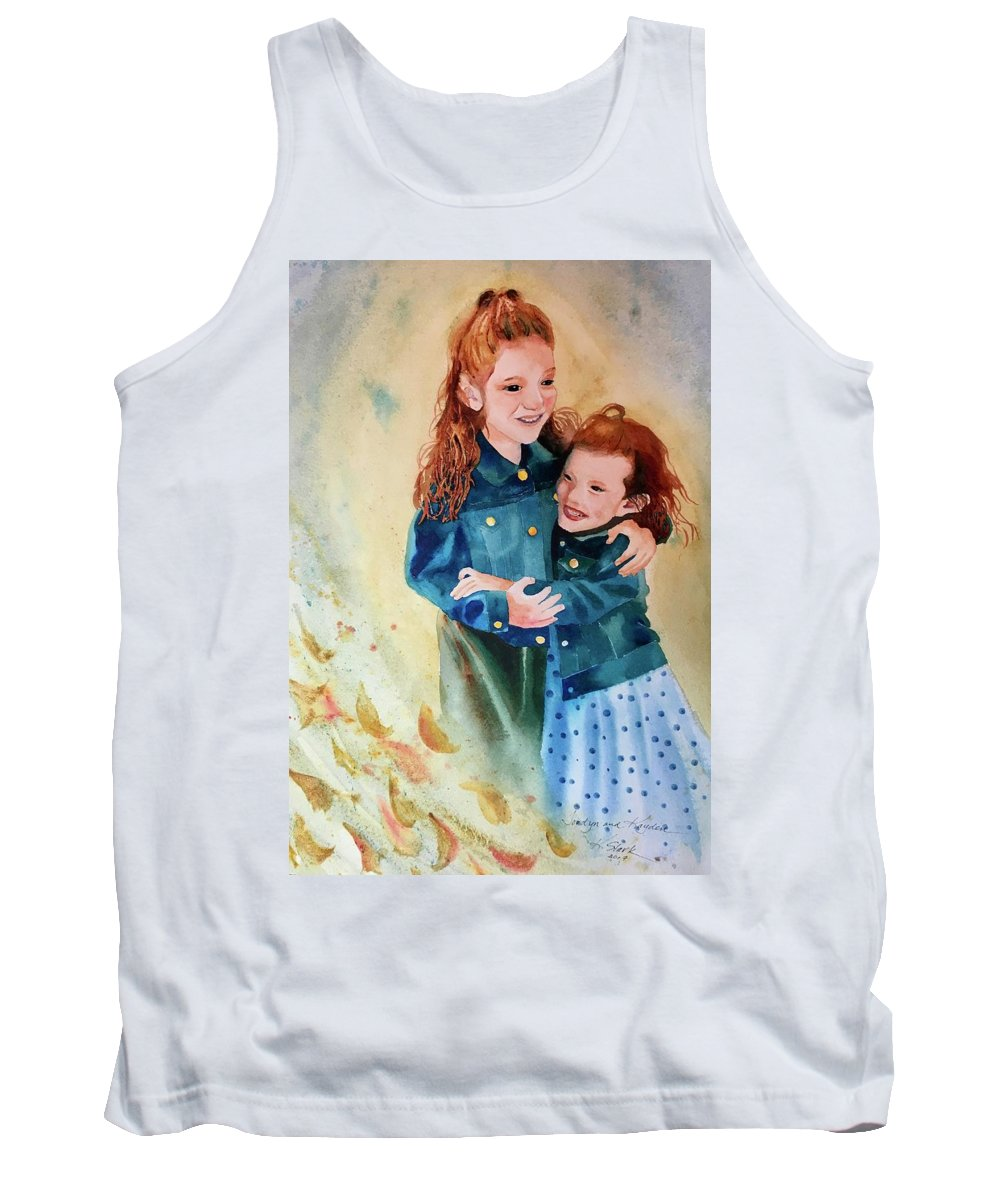 Painting Tank Top featuring the painting Jordyn and Kayden by Karen Stark