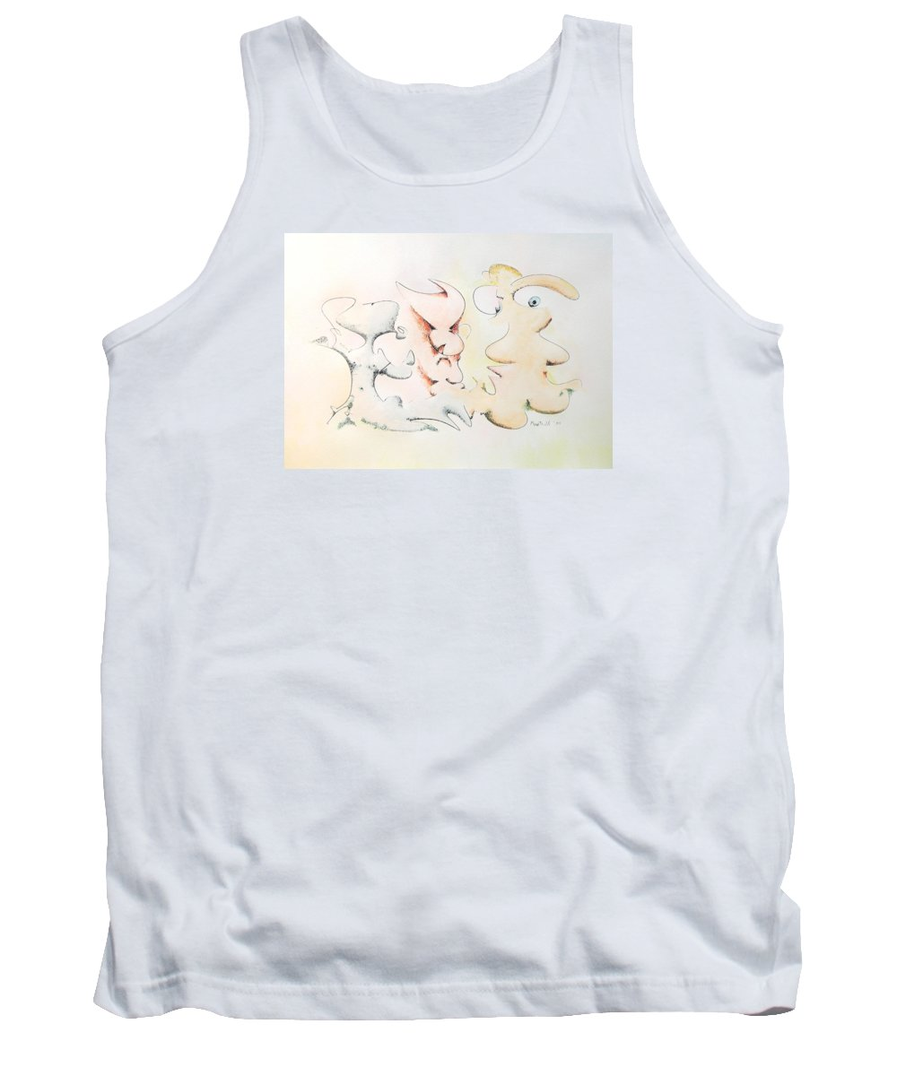 Watercolor Tank Top featuring the painting Judging Picasso by Dave Martsolf
