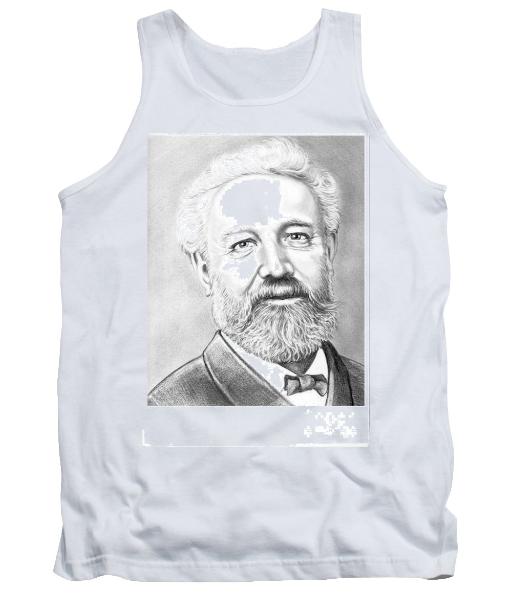 Jules Verne Tank Top featuring the drawing Jules Verne by Murphy Elliott