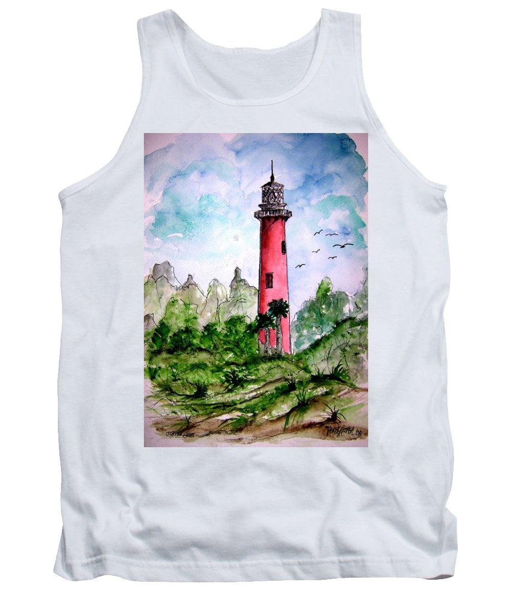 Lighthouse Tank Top featuring the painting Jupiter Florida Lighthouse by Derek Mccrea