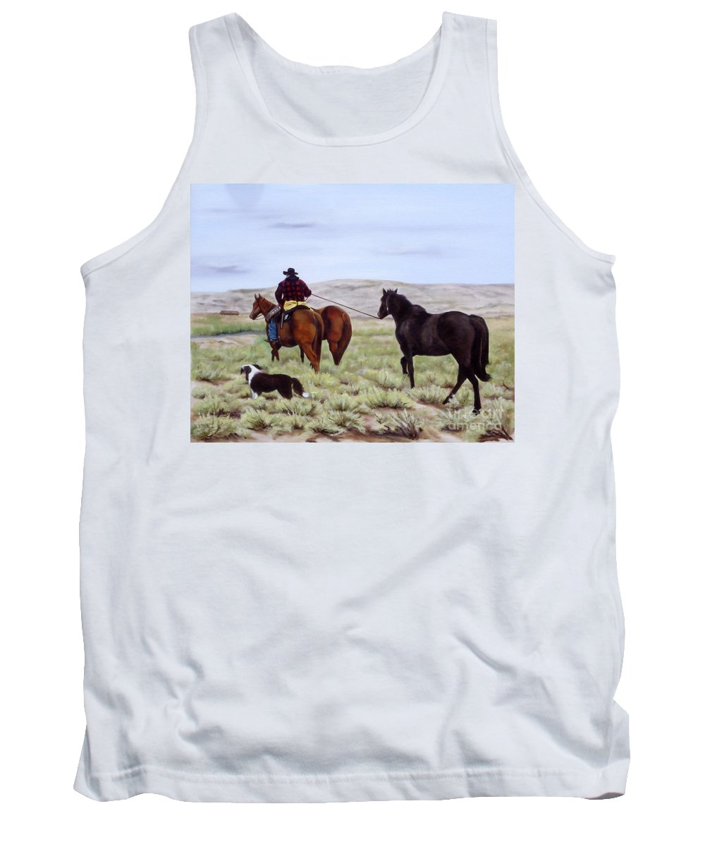 Art Tank Top featuring the painting Just Might Rain by Mary Rogers