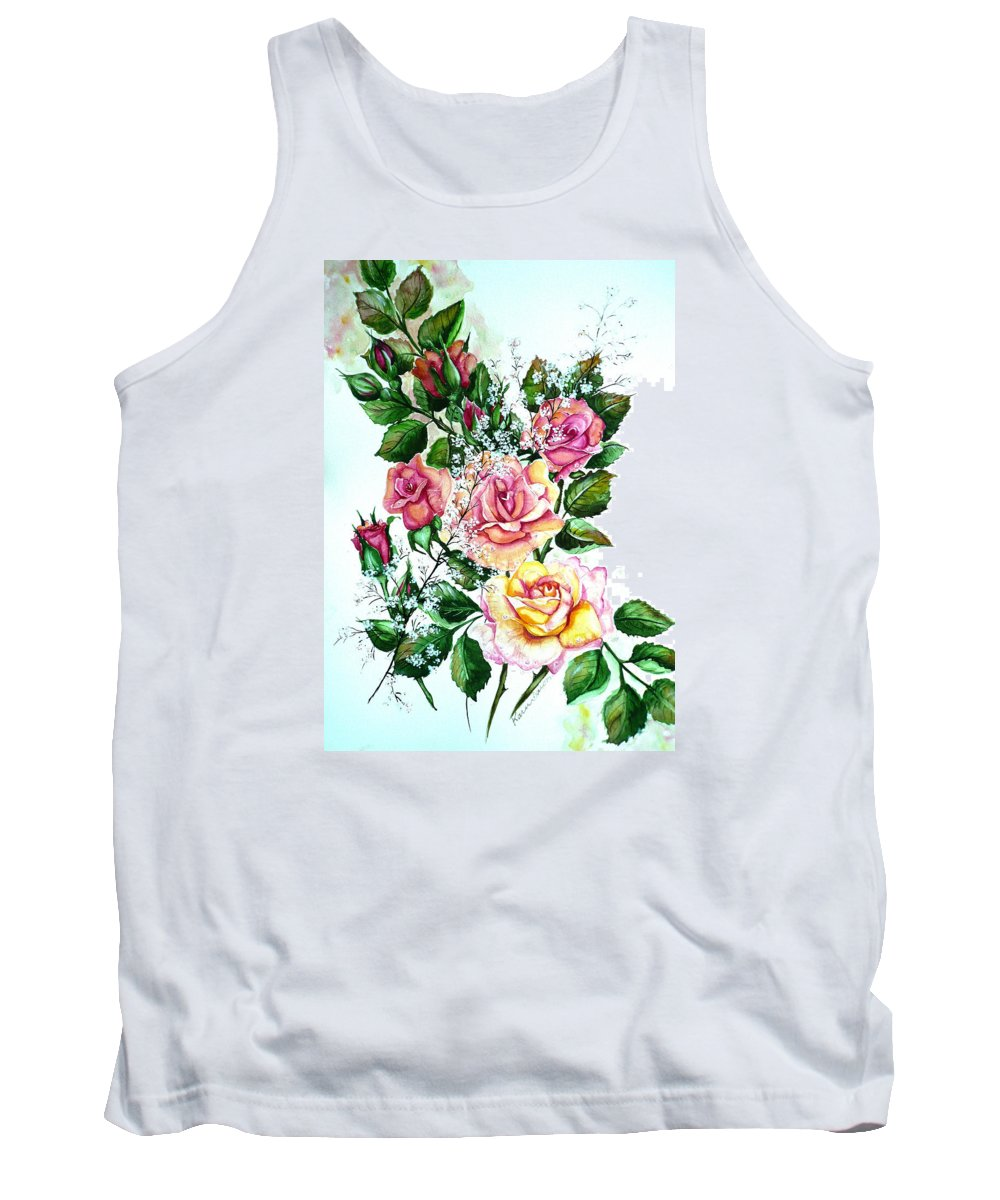 Floral Paintings Pink Paintings  Rose Paintings  Flower Paintings Botanical Paintings Greeting Card Paintings Canvas Prints Paintings Poster Prints Paintings Babies Breath Painting  Tank Top featuring the painting Just Roses by Karin Dawn Kelshall- Best
