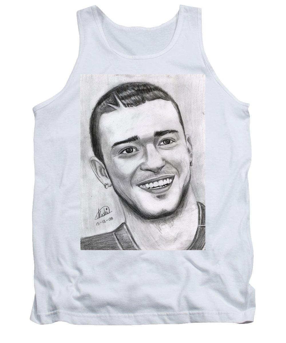 Justing Timberlake Tank Top featuring the drawing Justing Timberlake Portrait by Alban Dizdari