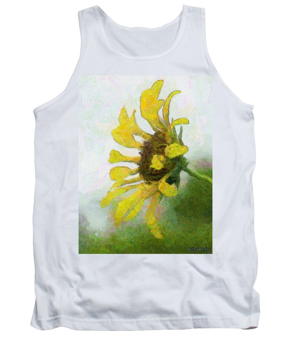 Sunflower Tank Top featuring the painting Kate's Sunflower by Jeffrey Kolker