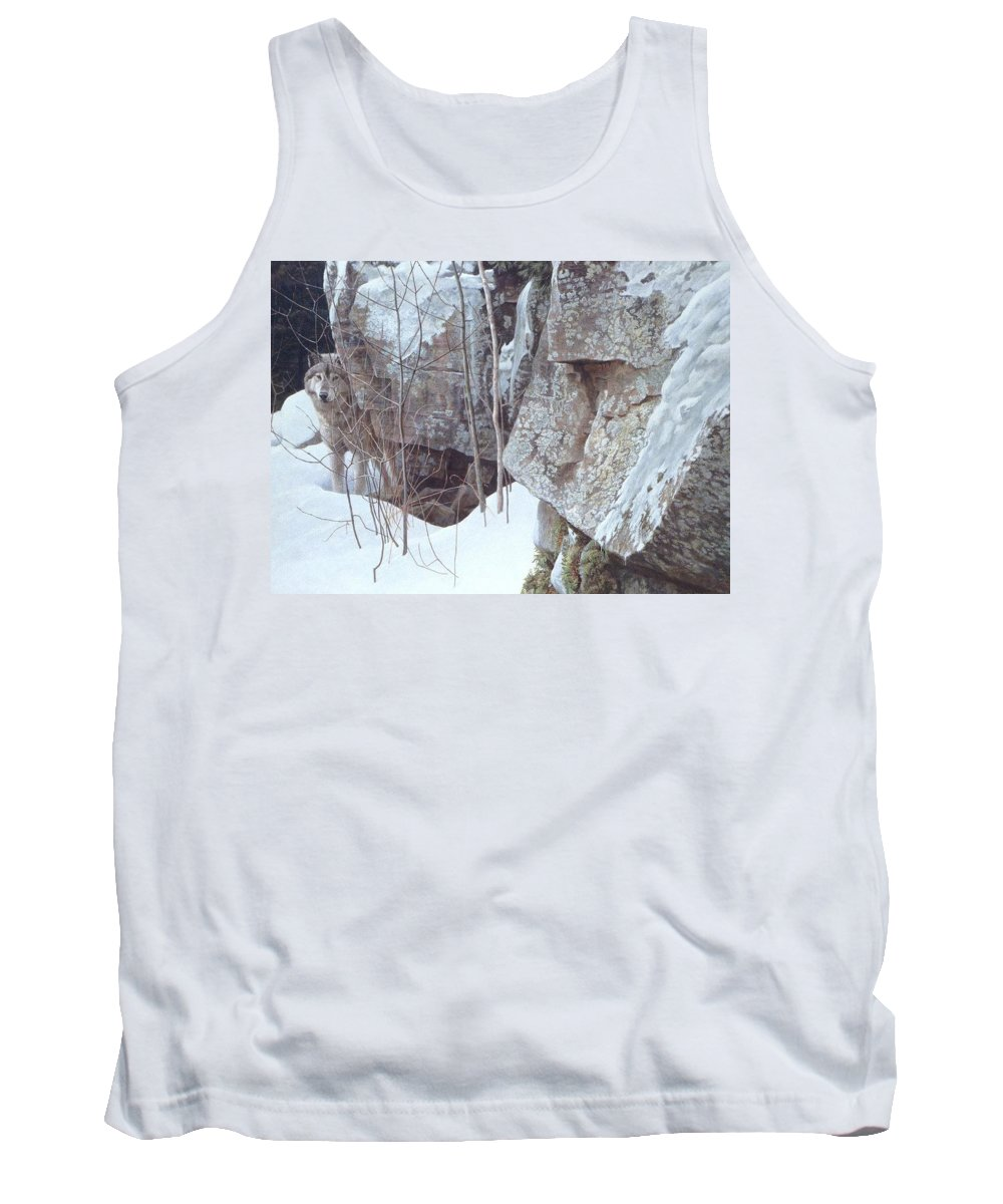 Snow Tank Top featuring the digital art Kb Bateman Robert-silent Witness Robert Bateman by Eloisa Mannion