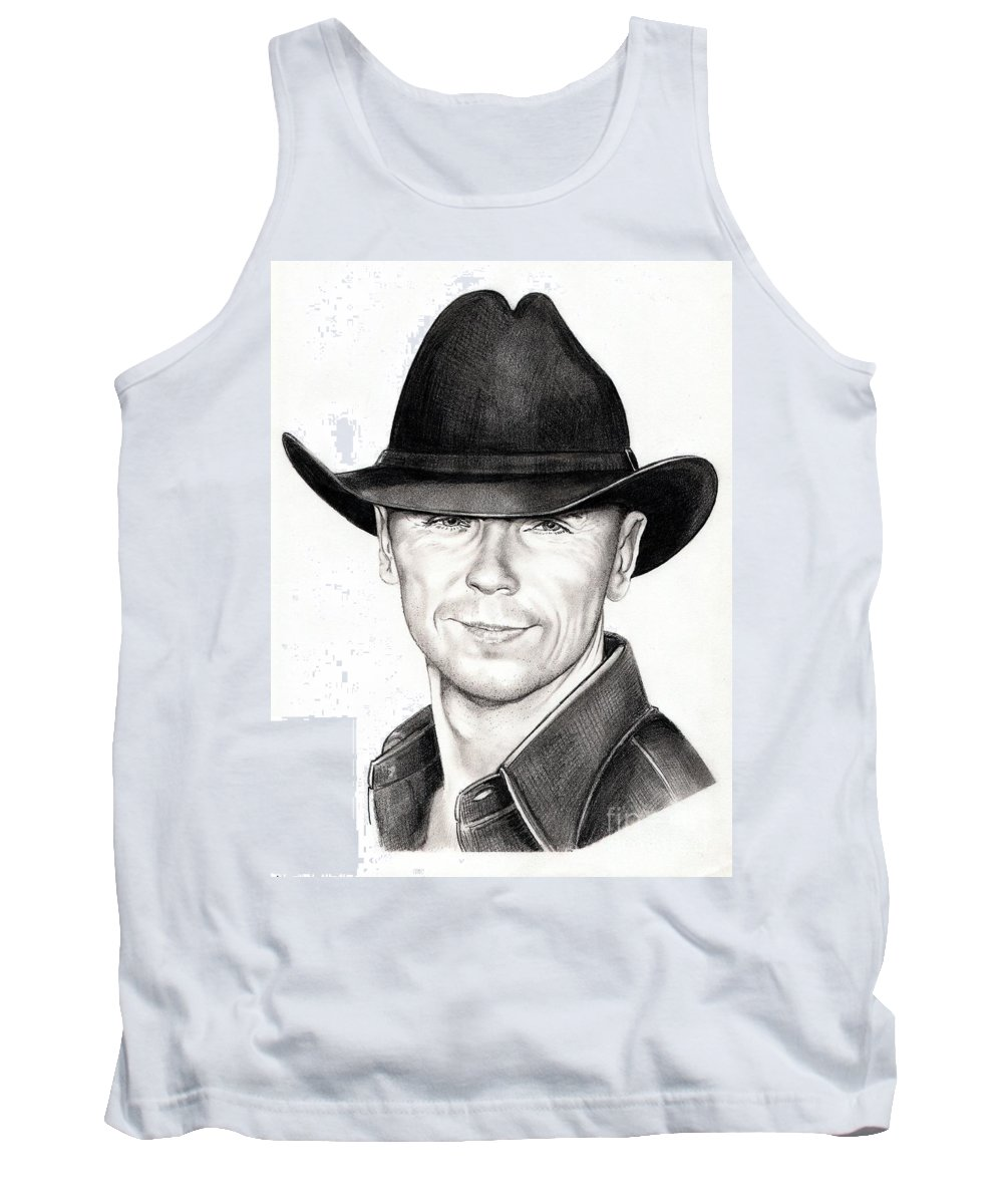Portrait Tank Top featuring the drawing Kenny Chesney by Murphy Elliott