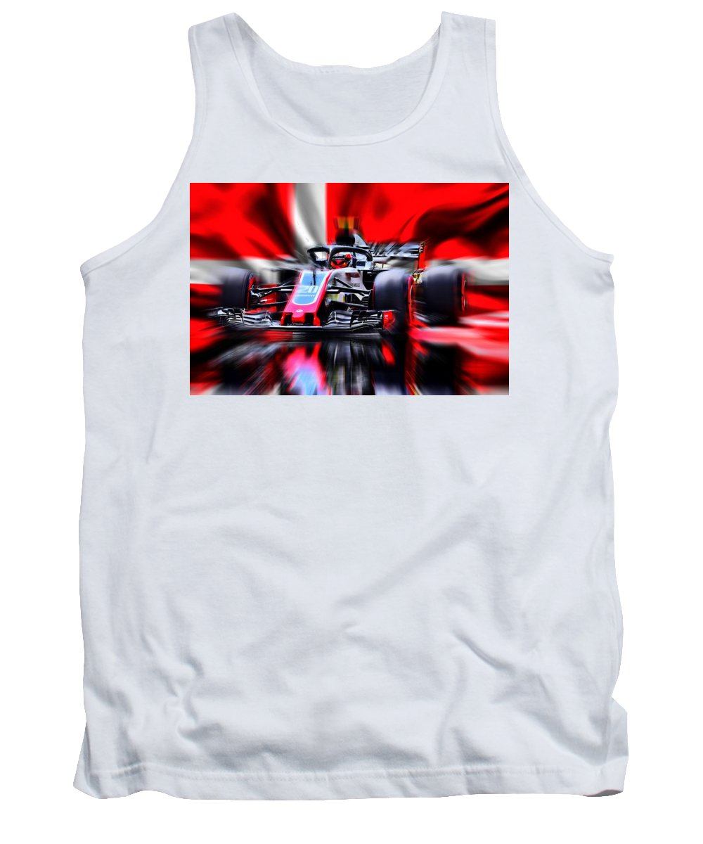 Formel 1 Tank Top featuring the digital art Kevin Magnussen #20 2018 by Jean-Louis Glineur alias DeVerviers