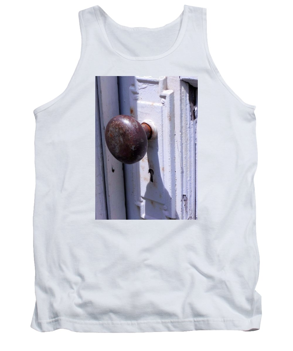 Old Wooden Door With Vintage Hardware. White Door Rusted Knob Tank Top featuring the photograph Keyhole by Steve Godleski