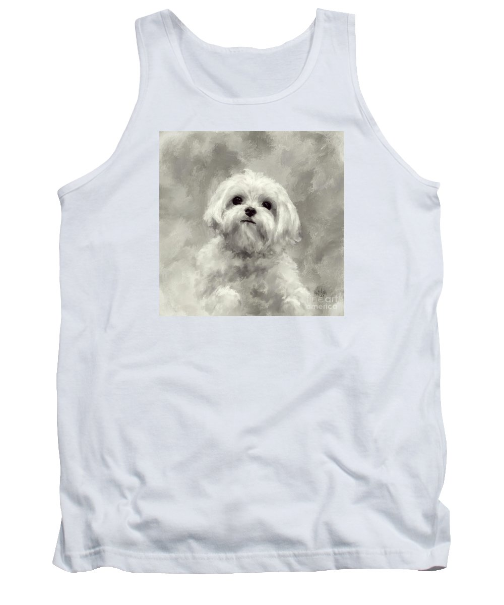 Maltese Tank Top featuring the digital art King Of The World by Lois Bryan