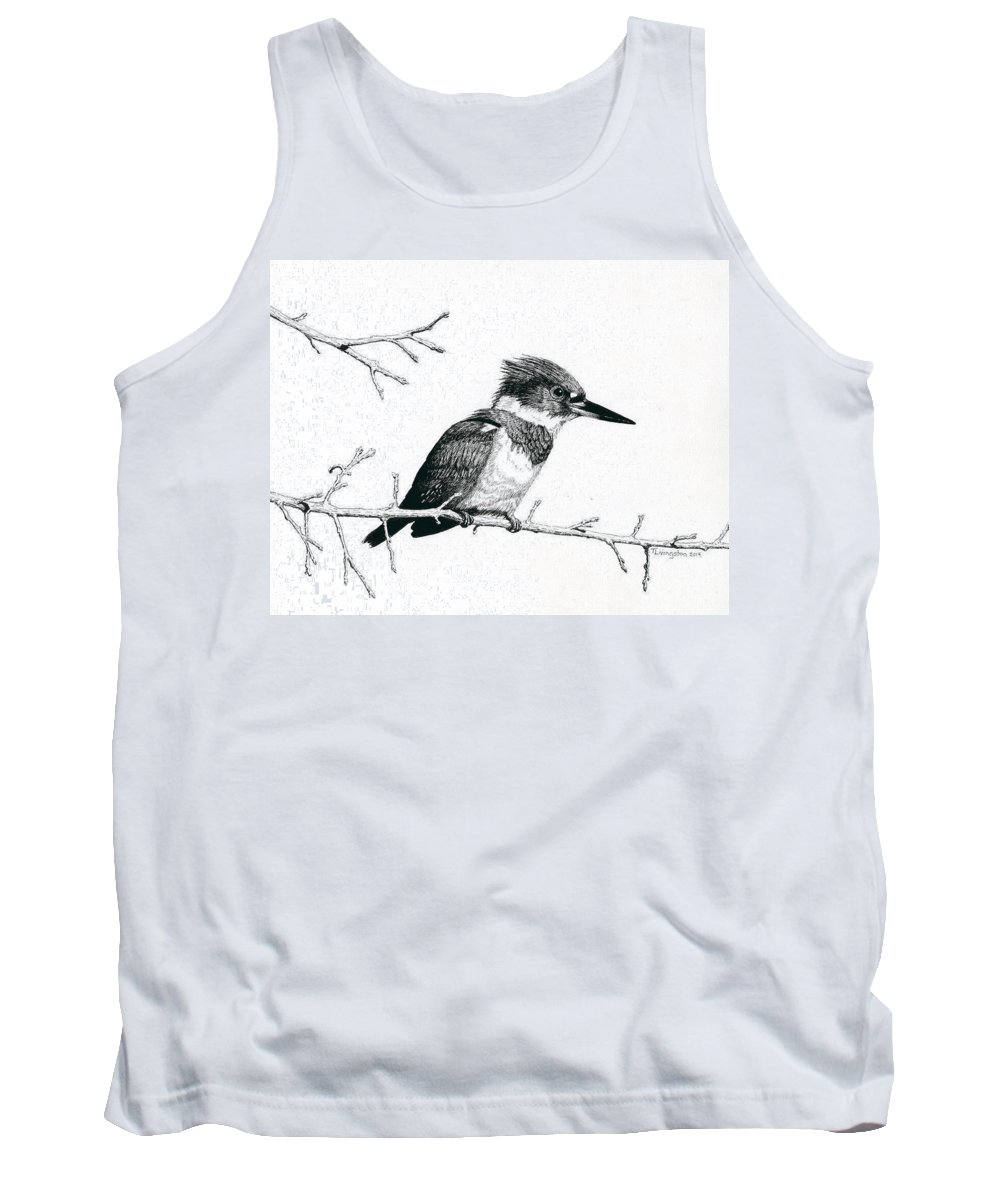 Belted Kingfisher Tank Top featuring the drawing Kingfisher by Timothy Livingston