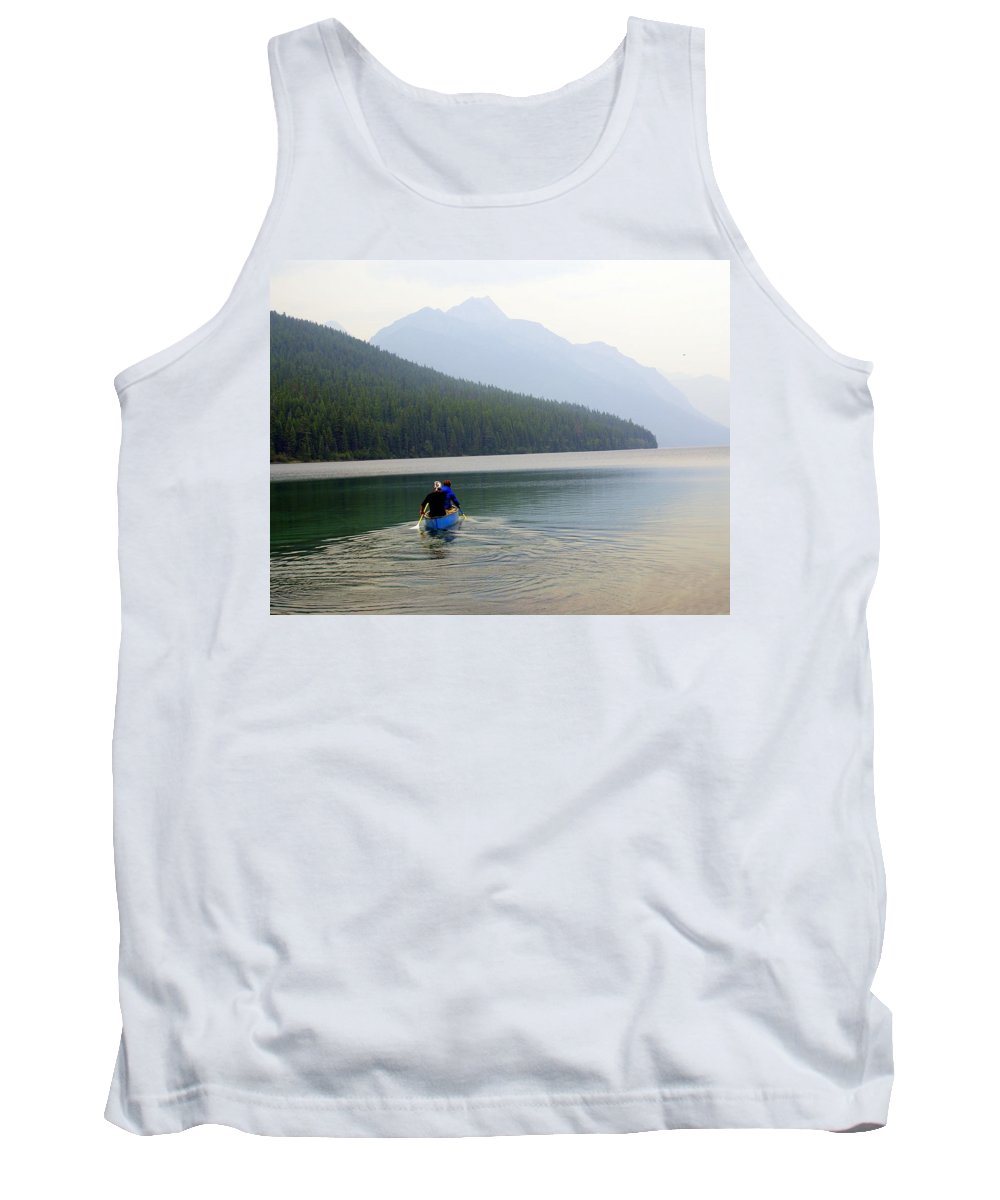 Mountains Tank Top featuring the photograph Kintla Lake Paddlers by Marty Koch