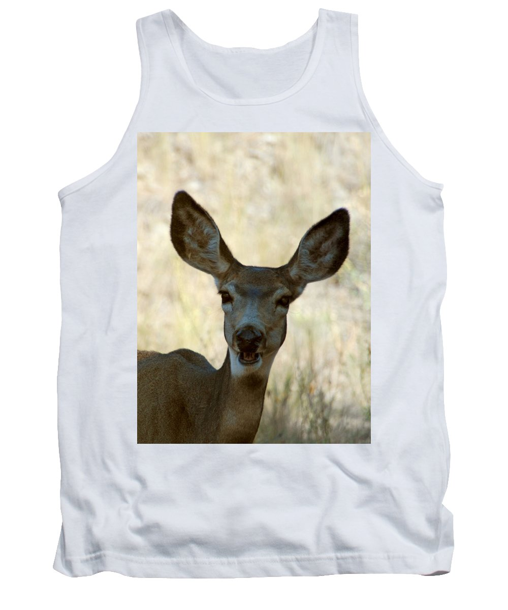 Deer Tank Top featuring the photograph Kiss Me by Donna Blackhall