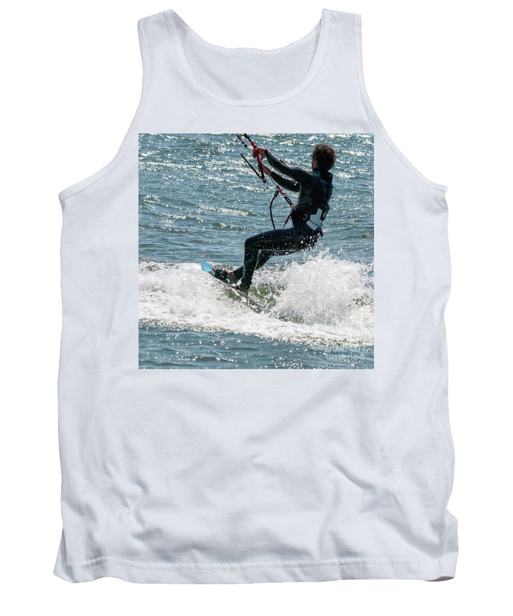 American Culture Tank Top featuring the photograph Kite Surfing by Bob Zuber