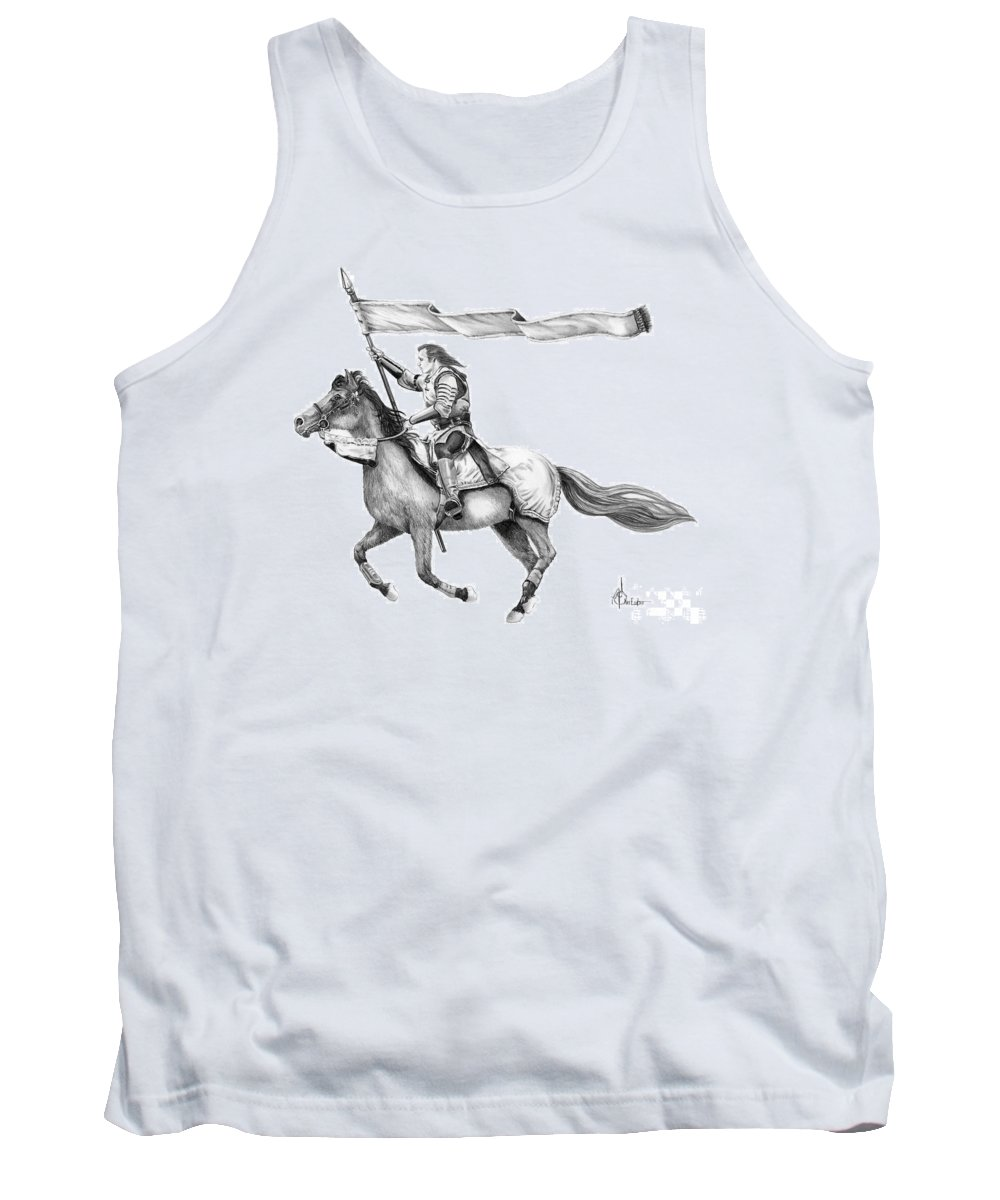 Pencil Tank Top featuring the drawing Knight in Armor by Murphy Elliott