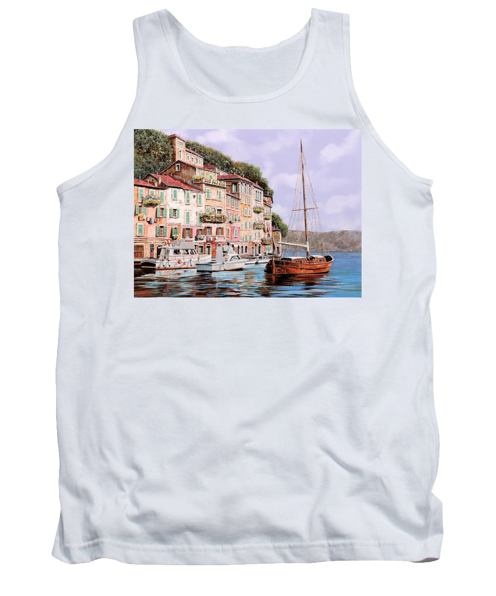 Landscape Tank Top featuring the painting La Barca Rossa Alla Calata by Guido Borelli