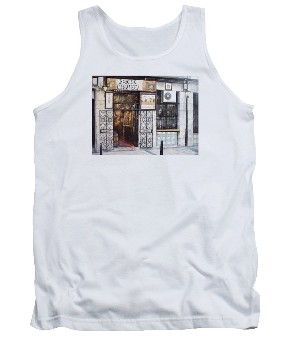 Bodega Tank Top featuring the painting La Cigalena Old Restaurant by Tomas Castano