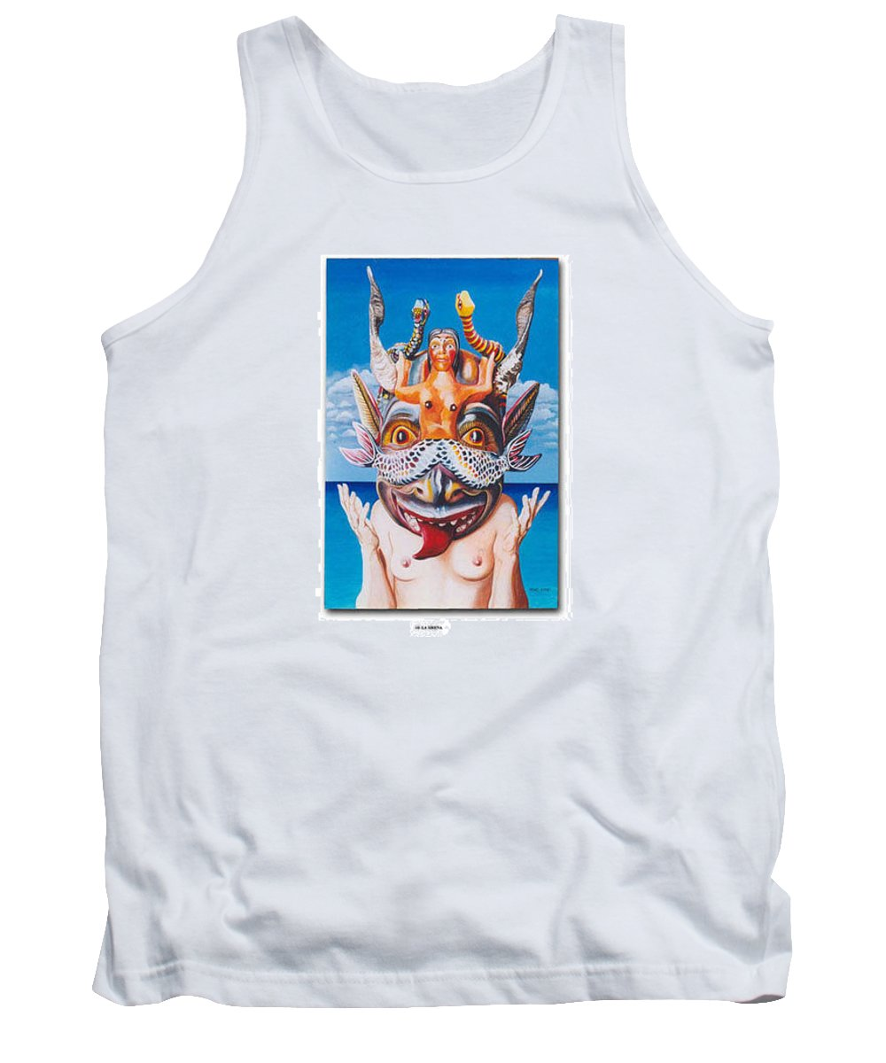 Hyperrealism Tank Top featuring the painting La Sirena by Michael Earney