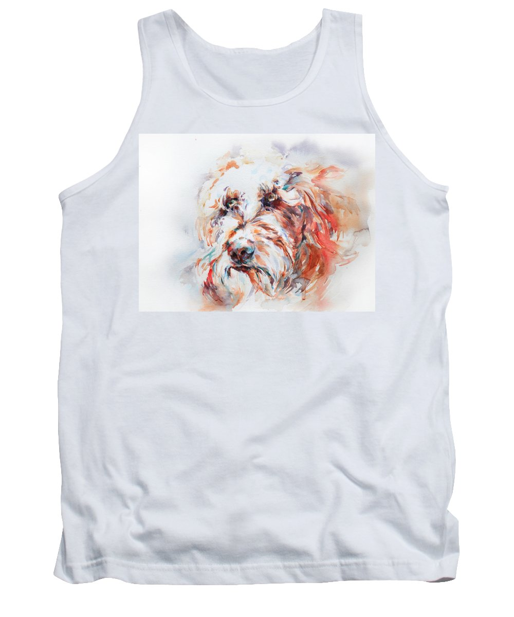 Stephie Butler Tank Top featuring the painting Labradoodle by Stephie Butler