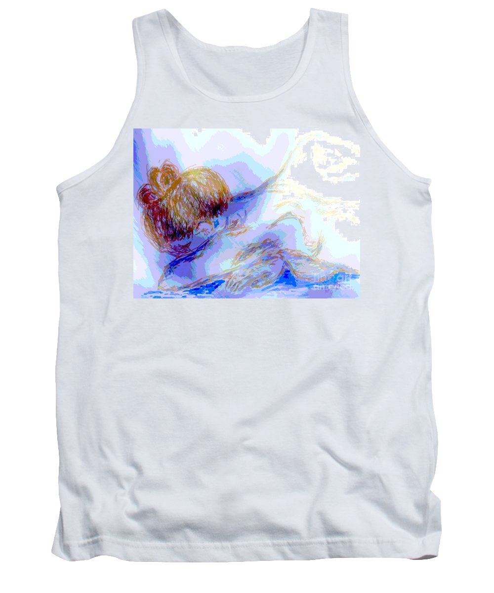Lady Tank Top featuring the digital art Lady Crying by Shelley Jones