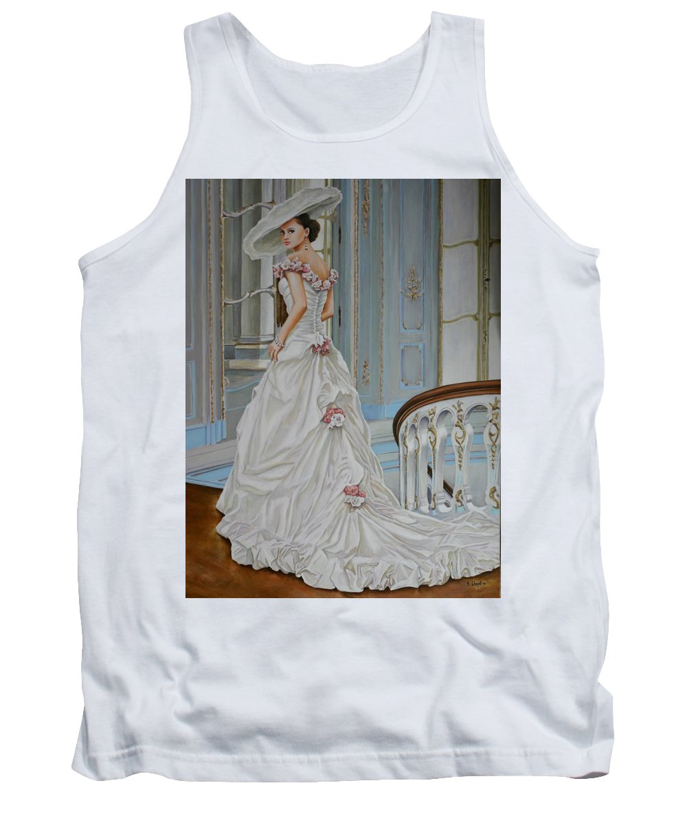 Acrylic Dress Elegant Figurative Hat Light Realism Staircase White Woman Tank Top featuring the painting Lady On The Staircase by Andy Lloyd