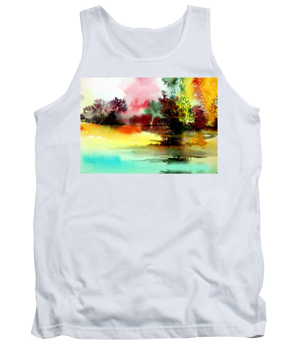 Nature Tank Top featuring the painting Lake In Colours by Anil Nene