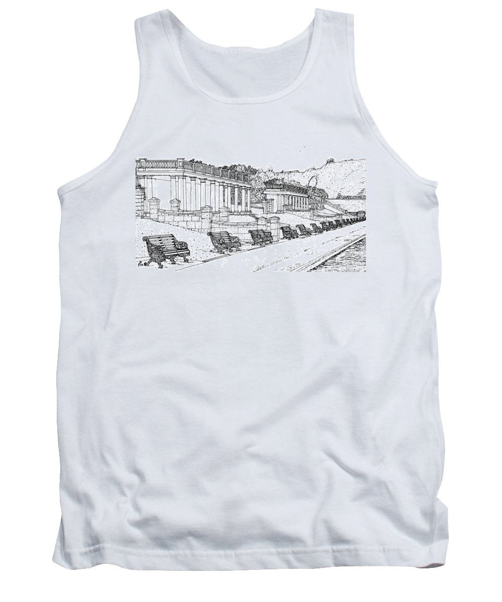 Scenic Drawing Tank Top featuring the drawing Lakeside. Barry by Frank Hamilton