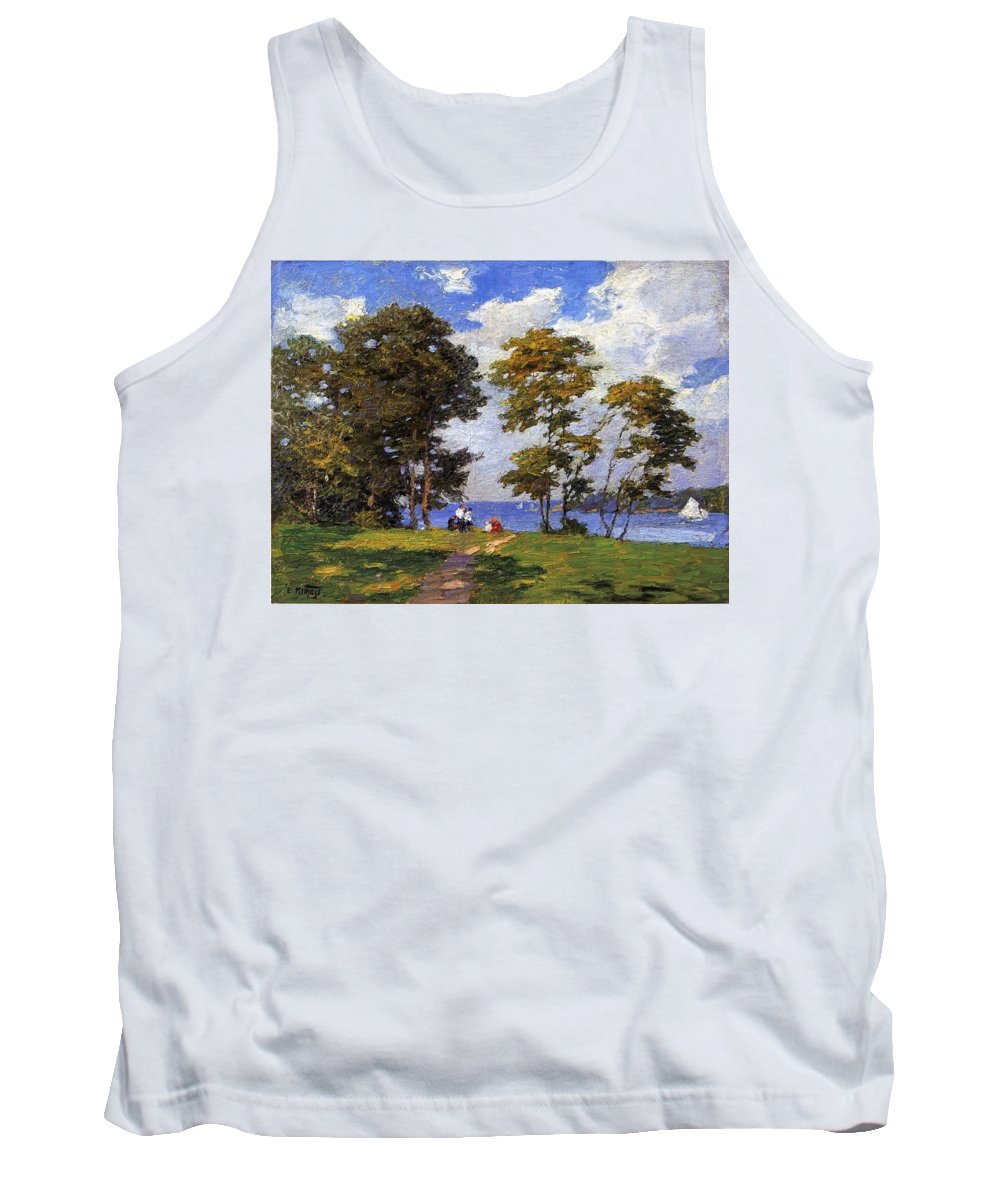 Tree Tank Top featuring the digital art Landscape By The Shore Aka The Picnic Edward Henry Potthast by Eloisa Mannion