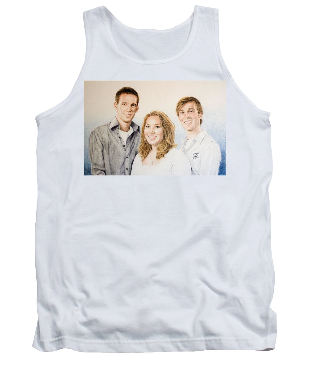 Portrait Tank Top featuring the drawing Lars Niels And Ilse by Rob De Vries