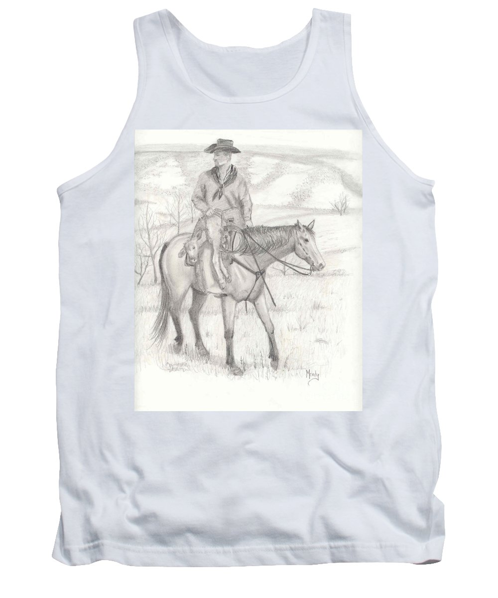 Horse Tank Top featuring the drawing Last One In by Mendy Pedersen