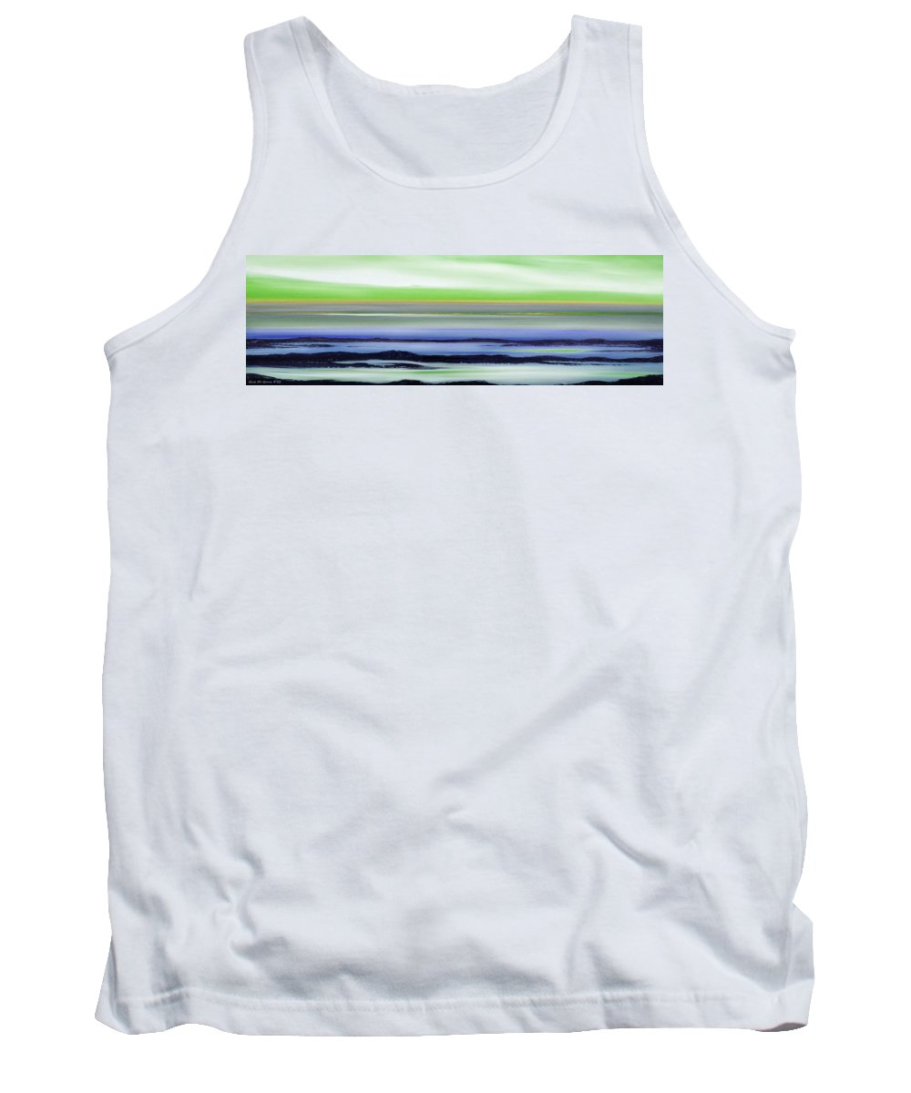 Sunset Tank Top featuring the painting Lava Rock Panoramic Sunset In Green And Blue by Gina De Gorna