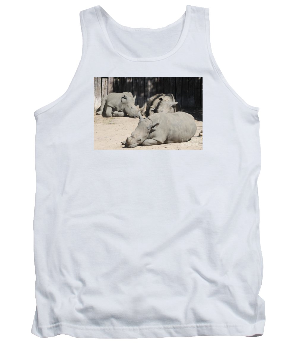 Rhinos Tank Top featuring the photograph Lazy Bones by Christiane Schulze Art And Photography