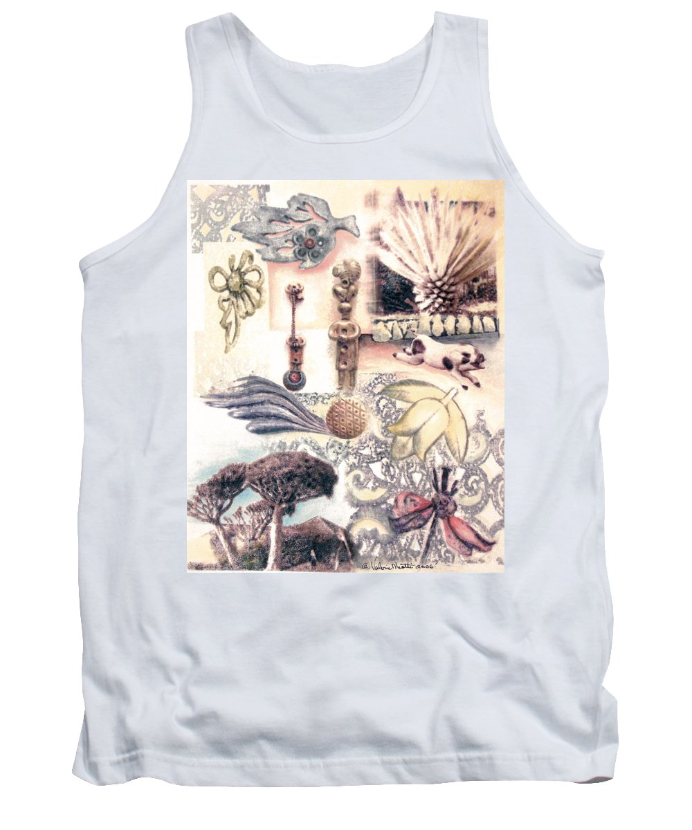 Abstract Tank Top featuring the painting Le Petite Pig Does Fly by Valerie Meotti