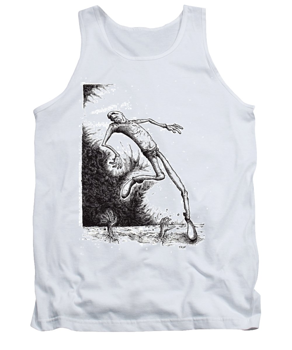 Black And White Tank Top featuring the drawing Leap by Tobey Anderson