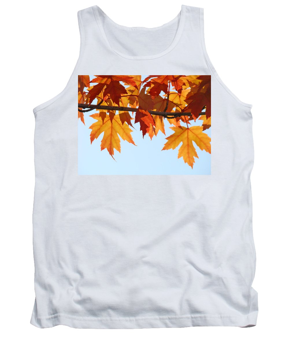 Autumn Tank Top featuring the photograph Leaves Autumn Orange Sunlit Fall Leaves Blue Sky Baslee Troutman by Baslee Troutman