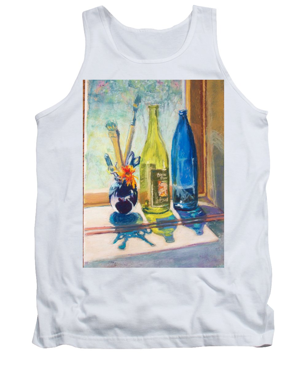 Bottles Tank Top featuring the painting Light And Bottles by Laurie Paci