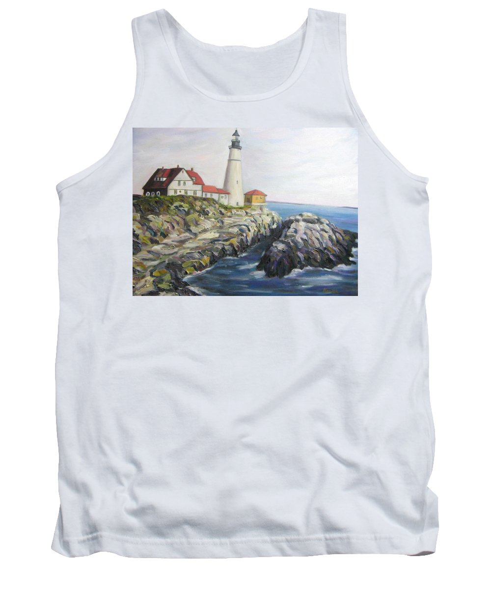 Portland Tank Top featuring the painting Light House by Richard Nowak