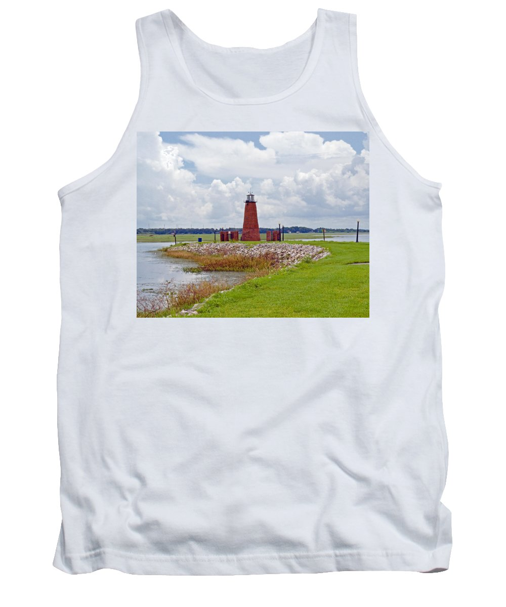 Florida; Kissimmee; Toho; Tohopekaliga; Port; Light; Lighthouse; House; Beacon; Brick; Central; Harb Tank Top featuring the photograph Lighthouse At Port Kissimmee On Lake Tohopekaliga In Central Florida  by Allan Hughes