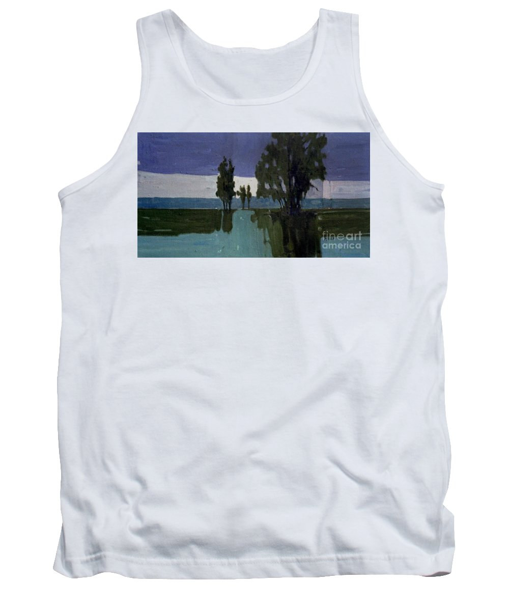 Nocturne Tank Top featuring the painting Lights On The Horizon by Donald Maier