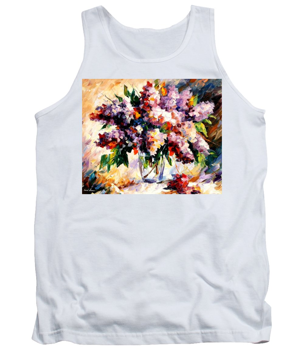 Afremov Tank Top featuring the painting Lilac - Morning Mood by Leonid Afremov