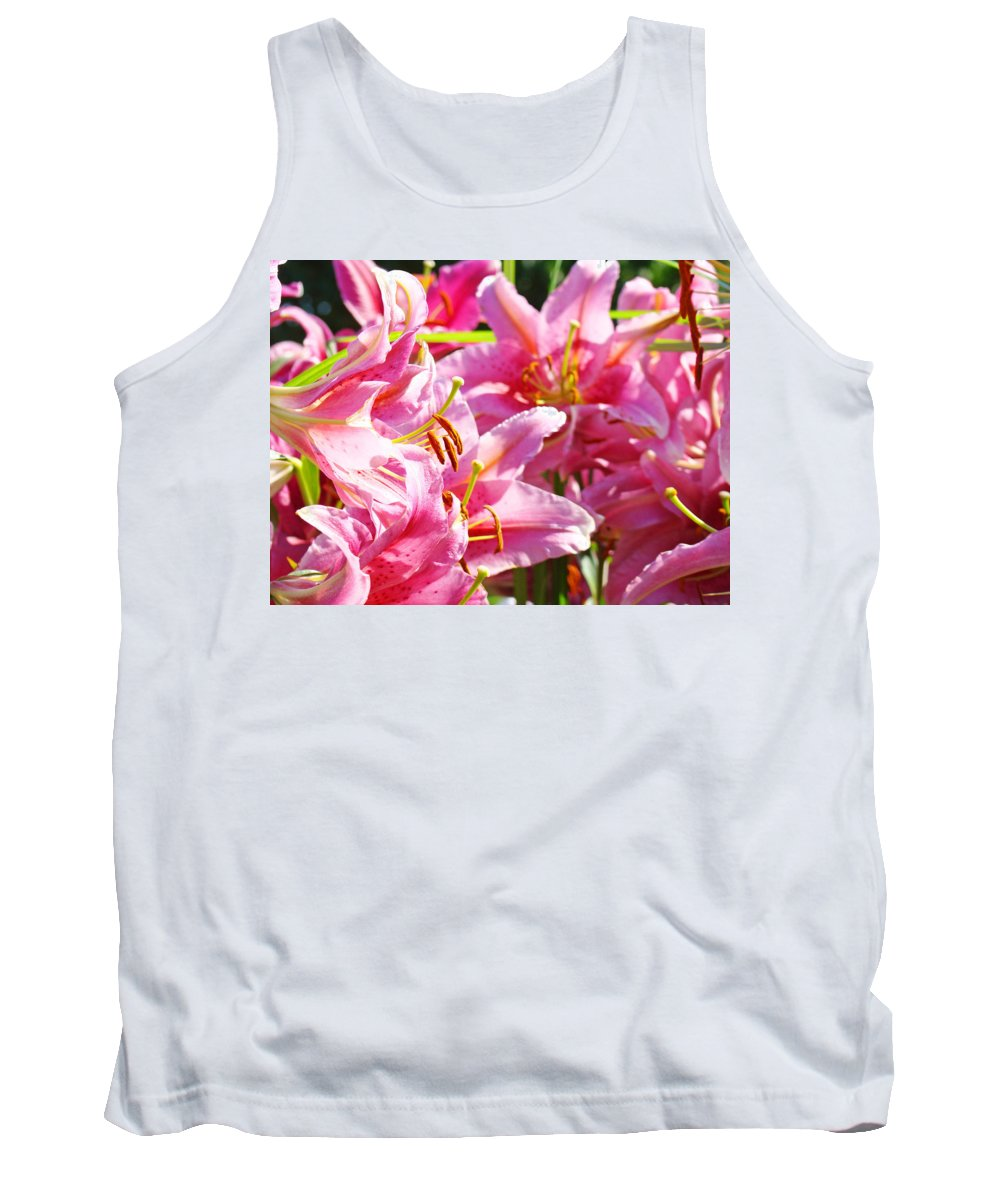 Lilies Tank Top featuring the photograph Lily Garden Floral Art Prints Pink Lilies Baslee Troutman by Baslee Troutman