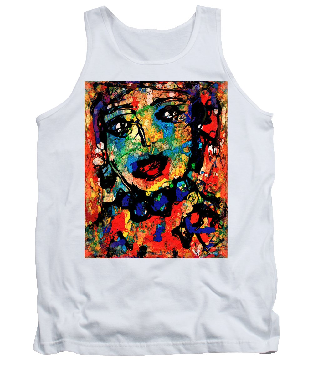 Portrait Tank Top featuring the mixed media Lilyana by Natalie Holland
