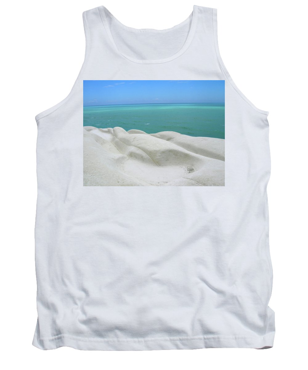 Limestone Tank Top featuring the photograph Limestone Cliffs And Sea by Stefania Levi
