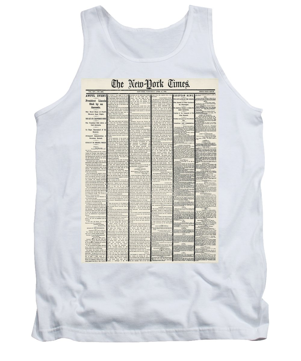 1865 Tank Top featuring the photograph Lincoln Assassination, 1865 by Granger