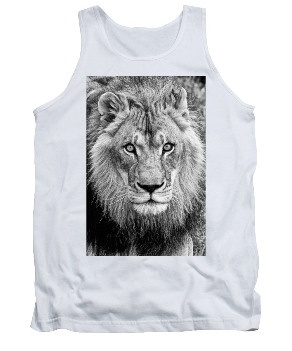 Lion Tank Top featuring the photograph Lion Bw by Christopher Cook