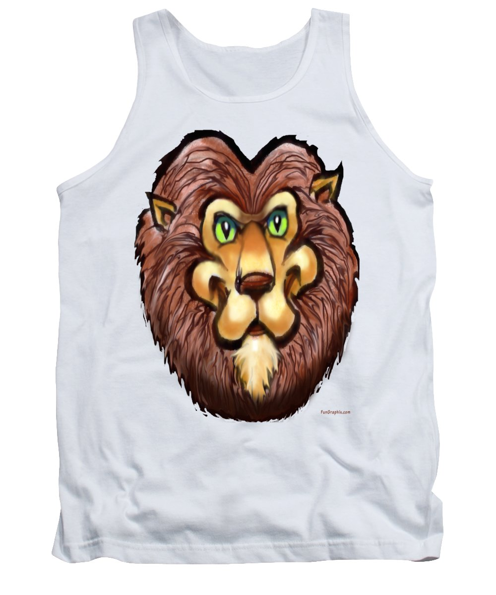 Lion Tank Top featuring the painting Lion by Kevin Middleton