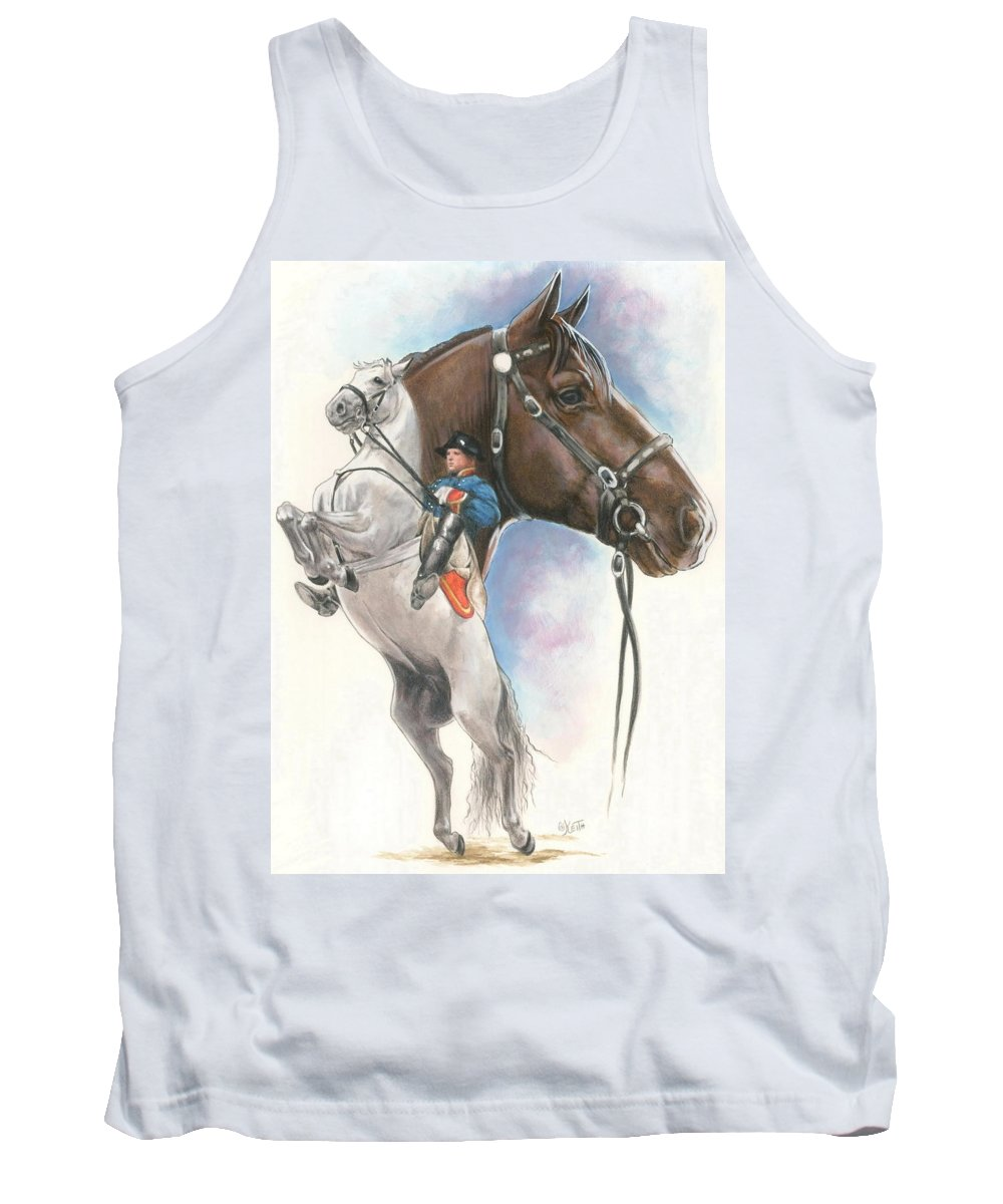 Spanish Riding School Tank Top featuring the mixed media Lippizaner by Barbara Keith