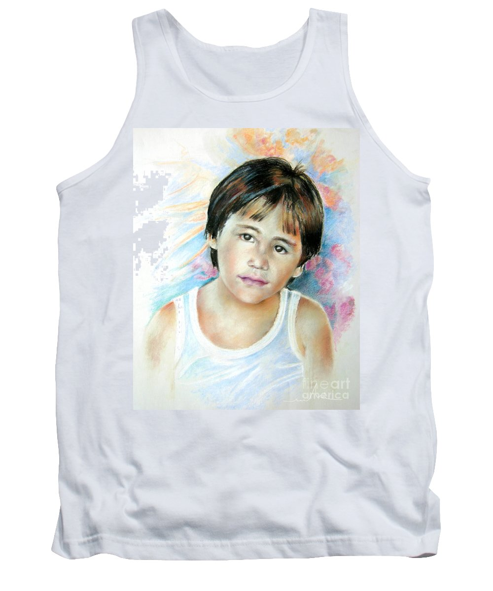 Portrait Child Tank Top featuring the painting Little Boy From Tahiti by Miki De Goodaboom
