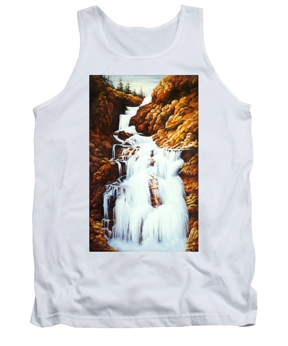 Waterfall Tank Top featuring the painting Little Firehole Falls by Teri Rosario